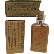 DeWitts Rheumatic Pills Original Box, Bottle and Pamphlet