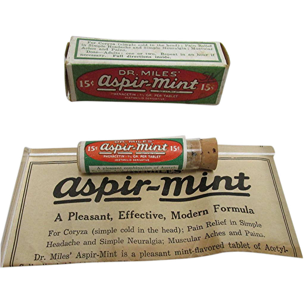 Dr. Miles Aspir Mint Original Box, Pamphlet &  Contents in Glass Vial