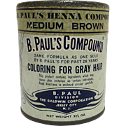 B. Pauls Compound Henna Hair Care  Unopened Advertising Tin