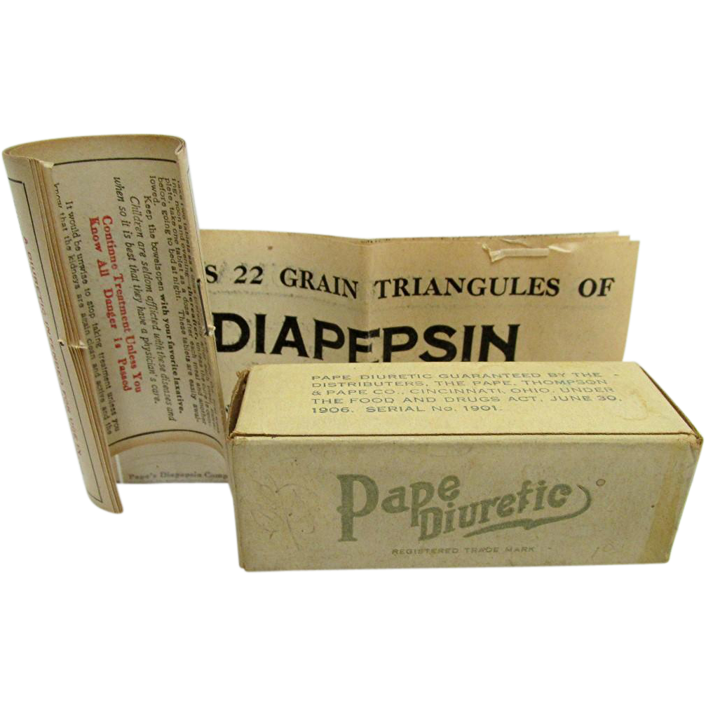 Pape Diuretic Box  from Drugstore or Pharmacy Circa 1909