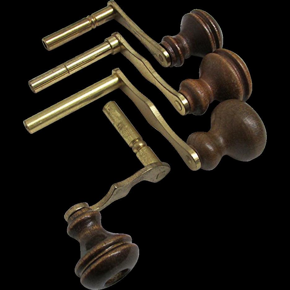 Four Wood Handle Grandfather Clock Keys