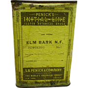 Drugstore or Pharmacy Advertising Container  Penicks ELM BARK  Botanical