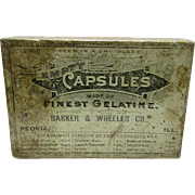 Barker & Wheeler Co. Box of Empty Capsules Drugstore Box