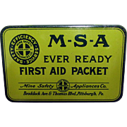 MSA Ever Ready First Aid Packet  Advertising Tin with Contents