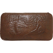 Embossed Leather Fly Fishing Wallet with Flies