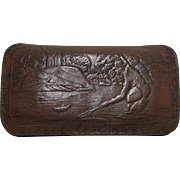 Leather Fly Wallet with Embossed Fishing Scene