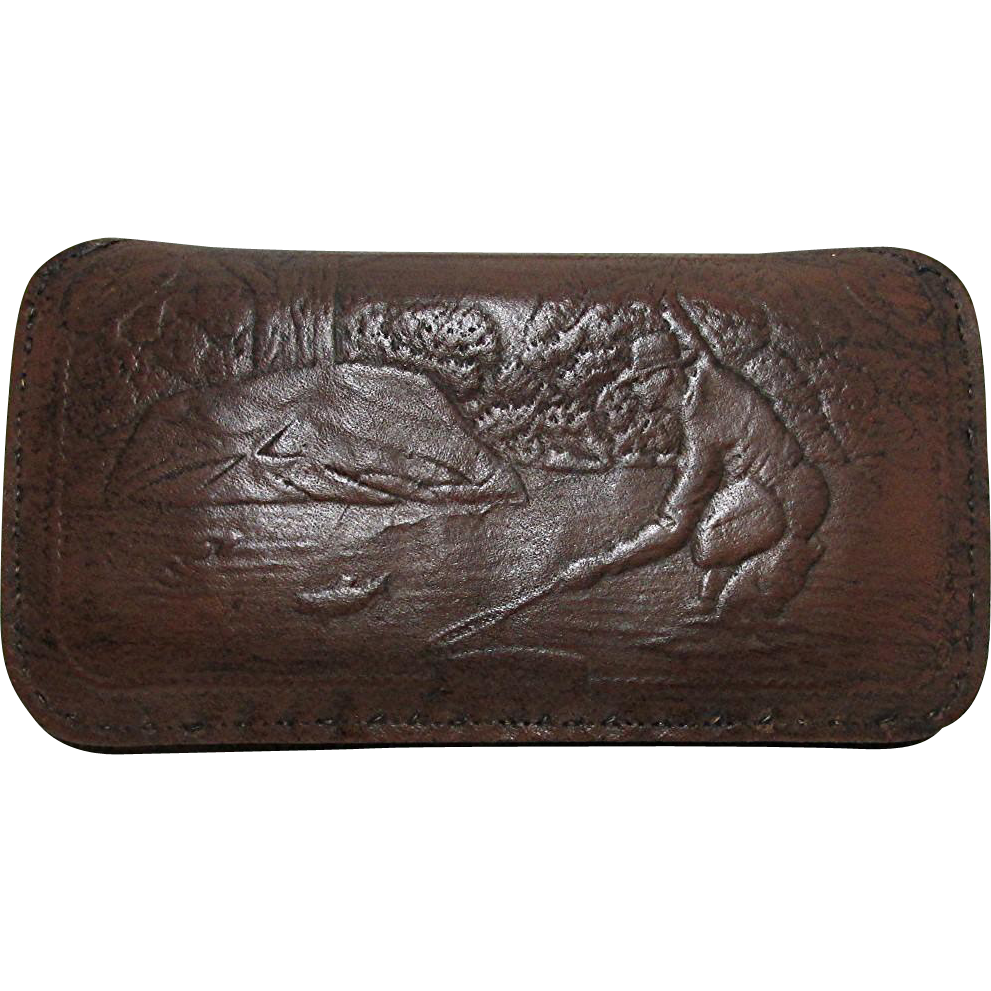 SOLD    Leather Fly Wallet with Embossed Fishing Scene