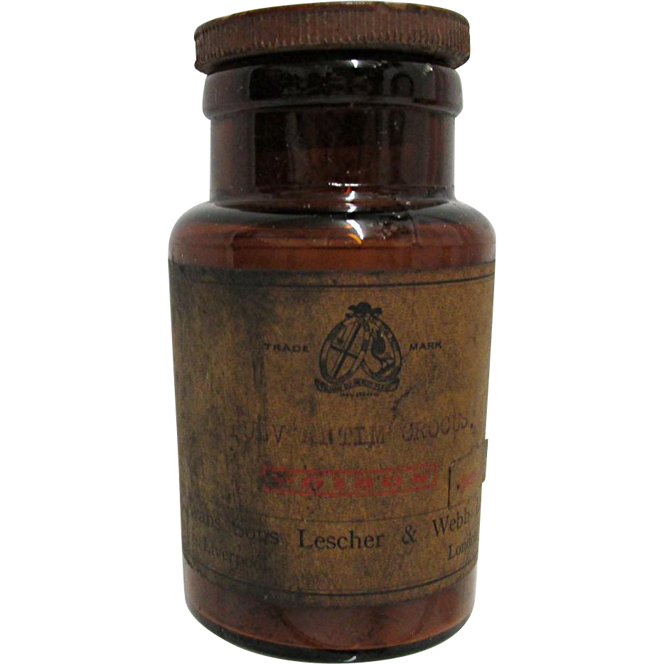 SOLD Amber Glass Pharmacy Bottle Evans Sons Lescher & Webb Ltd. Liverpool London