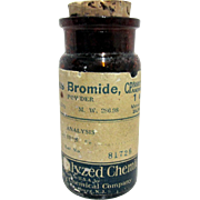 Amber Bottle Bakers Analyzed Chemicals, Baker Chemical Co. New Jersey