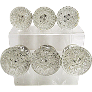 Sandwich Glass Relief  Flower Knobs