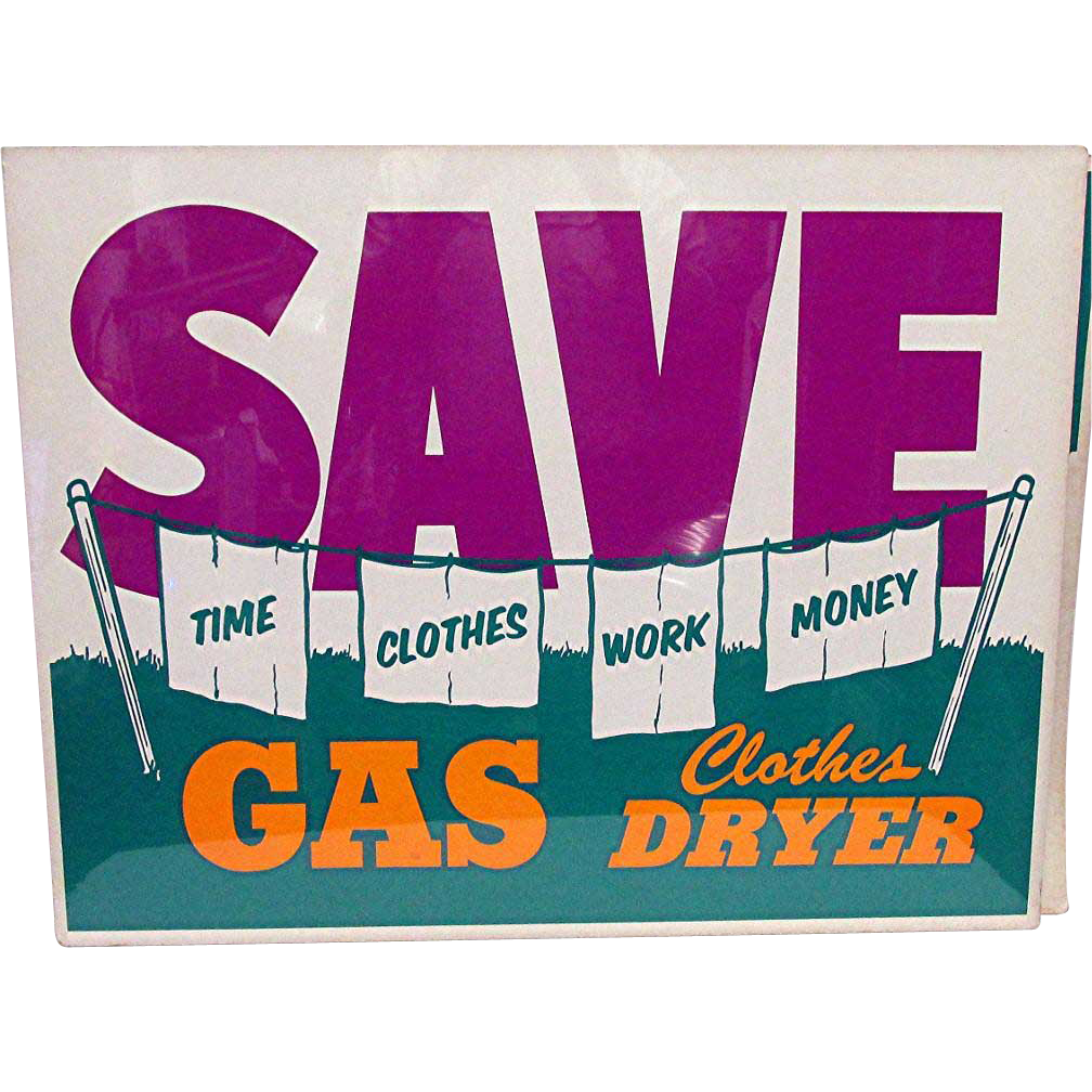 Appliance Store Advertising Sign for Gas Clothes Dryer Mint