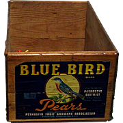 Blue Bird Wood Advertising Box