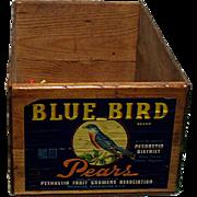 Blue Bird Wood Advertising Box