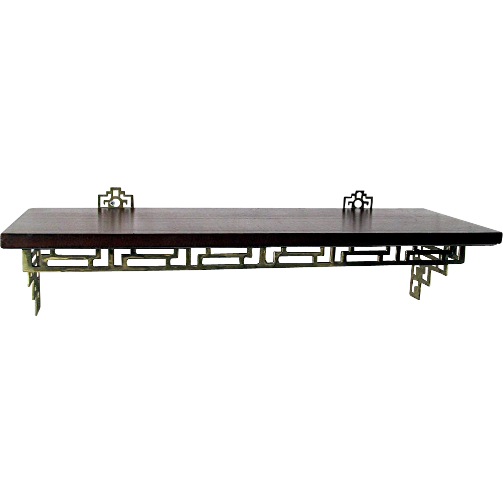 Solid Walnut and Cast Brass Shelf 24 Inches Long