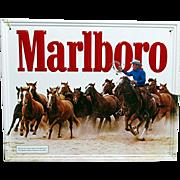Classic Marlboro Cigarette Advertising Sign Cowboy Round-Up