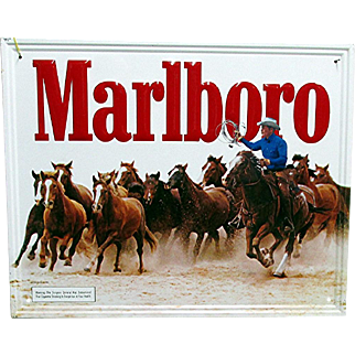 Classic Marlboro Cigarette Advertising Sign Cowboy Round-Up