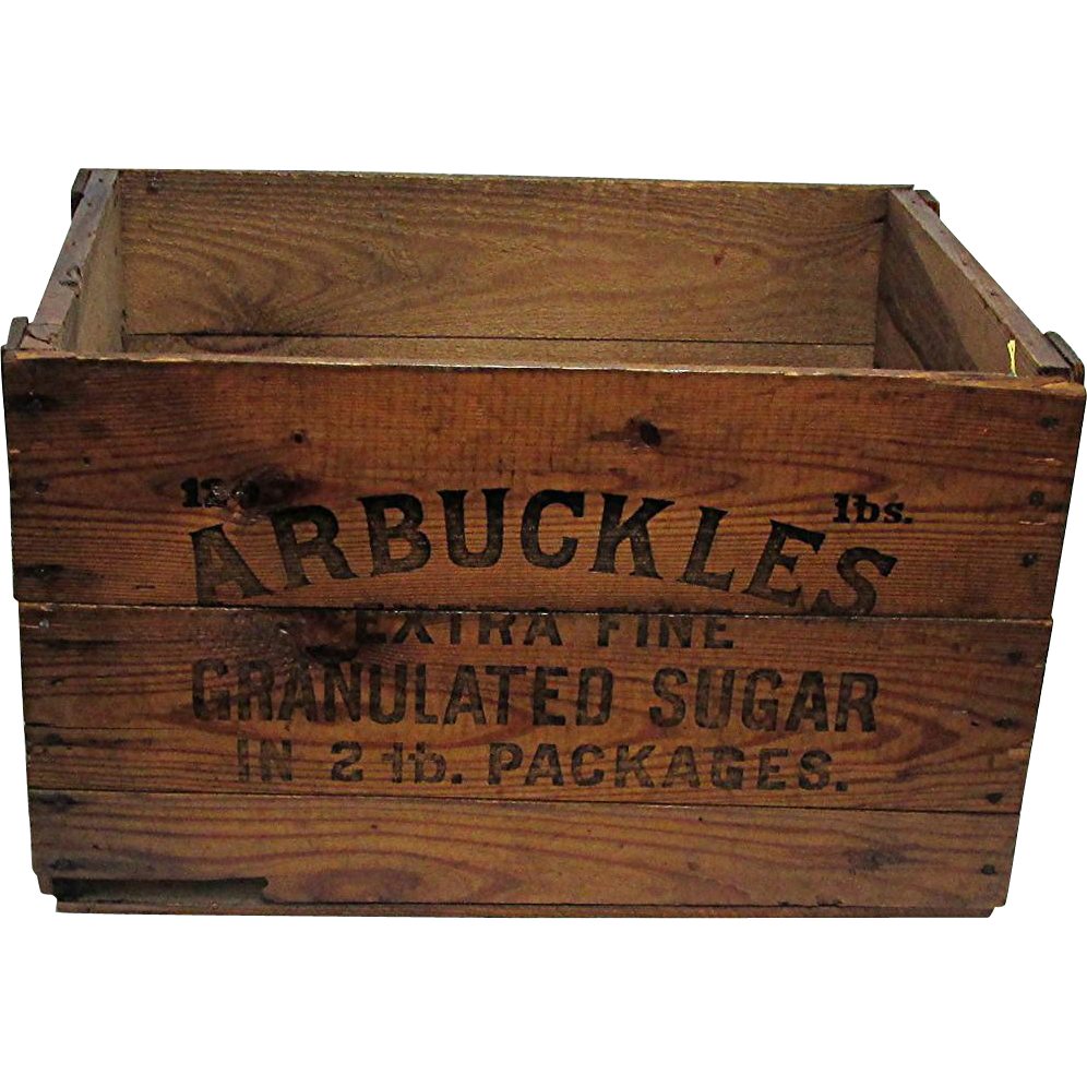 SOLD   Wood Advertising Box For Arbuckles Sugar