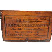 Dr. Daniels Horse Renovator Advertising Wood Box