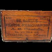 Dr. Daniels Horse Renovator Advertising Wood Box