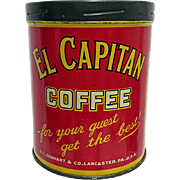 El Capitan Coffee Advertising Tin Lancaster Pa.