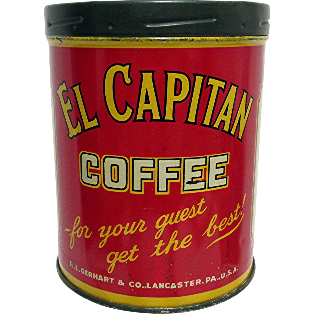 El Capitan Coffee Advertising Tin Lancaster Pennsylvania