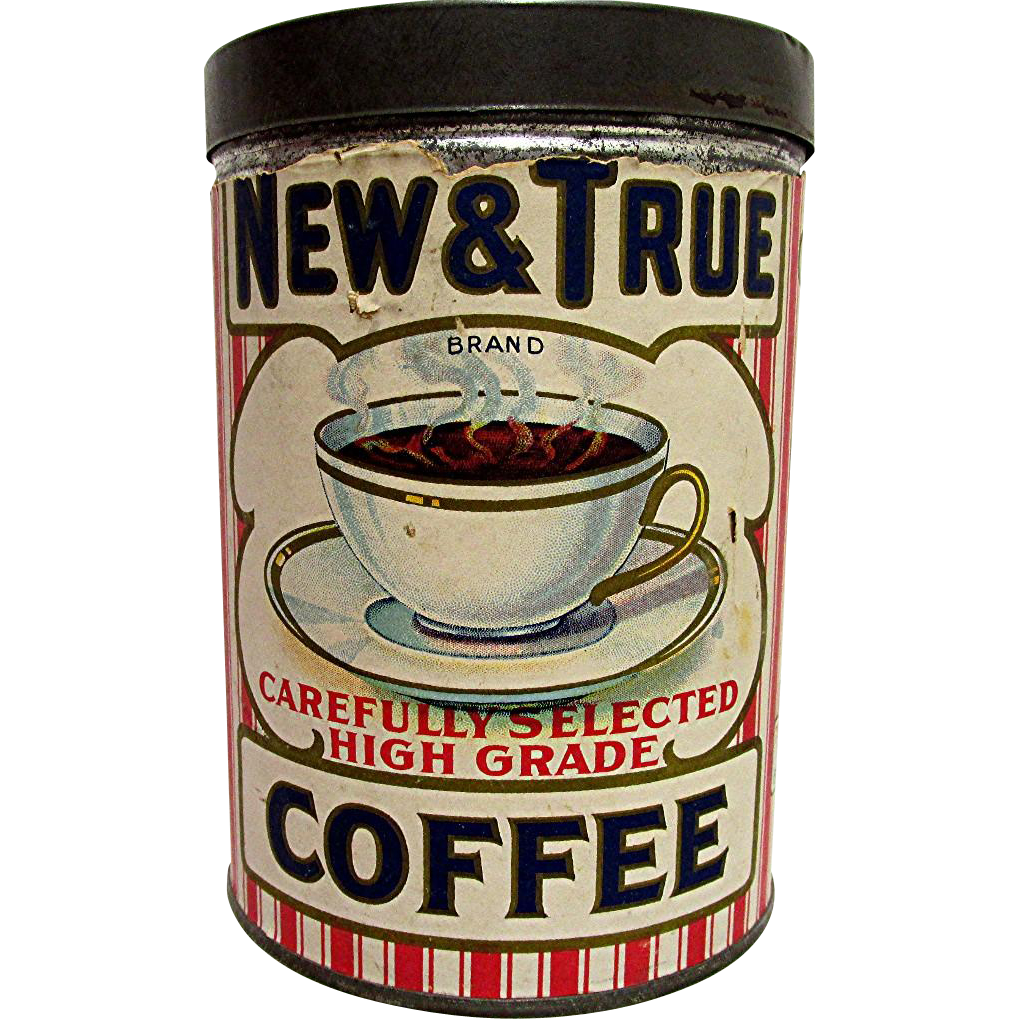 New and True Coffee Advertising Tin