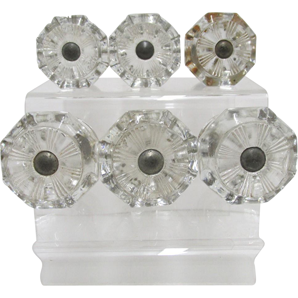 SOLD   Sandwich Glass Octagonal Knobs or Pulls