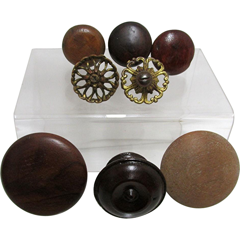 Drawer Pulls for Antique Furniture Assortment of 8 Wood and Cast Metal