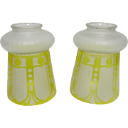 SOLD      Glass Light Shades Matching Pair Frosted and Ribbed