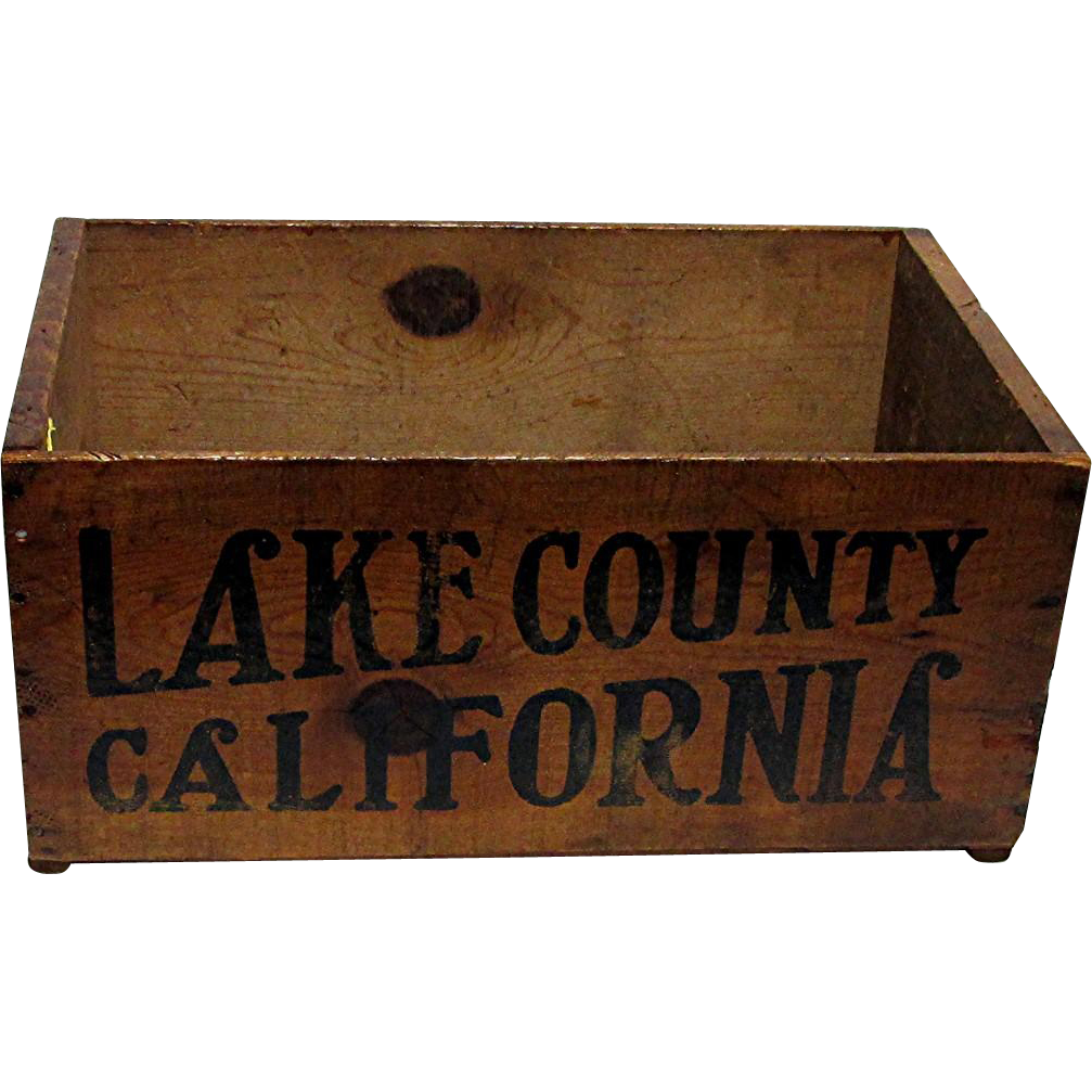 SOLD Wood Advertising Box For Lake County California