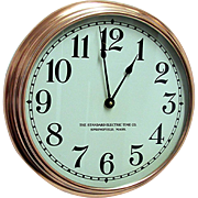 Round Copper Standard Electric Wall Clock
