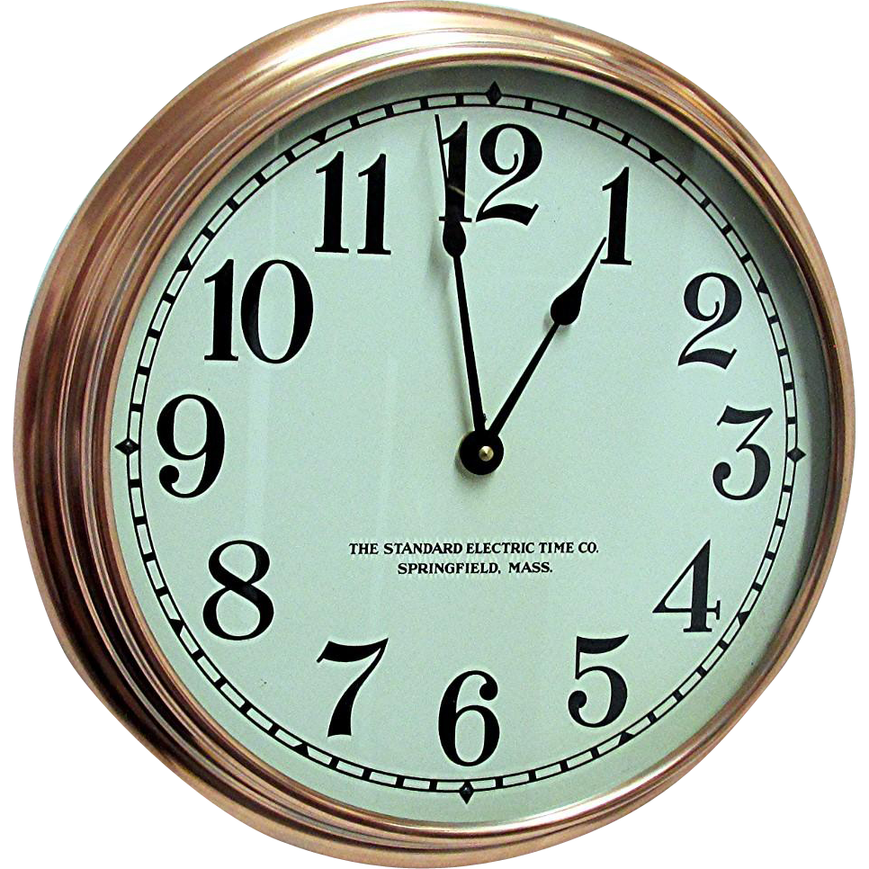 Round Copper Slave Wall Clock Runs And Keeps Time