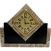 French Gray and Black Marble Clock