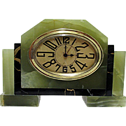 Art Deco French Green Onyx and Black Marble Clock