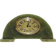 SOLD     Green Onyx French Art Nouveau Clock