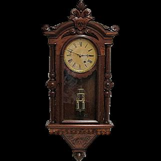 F. Kroeber Regulator #30 Antique Wall Clock