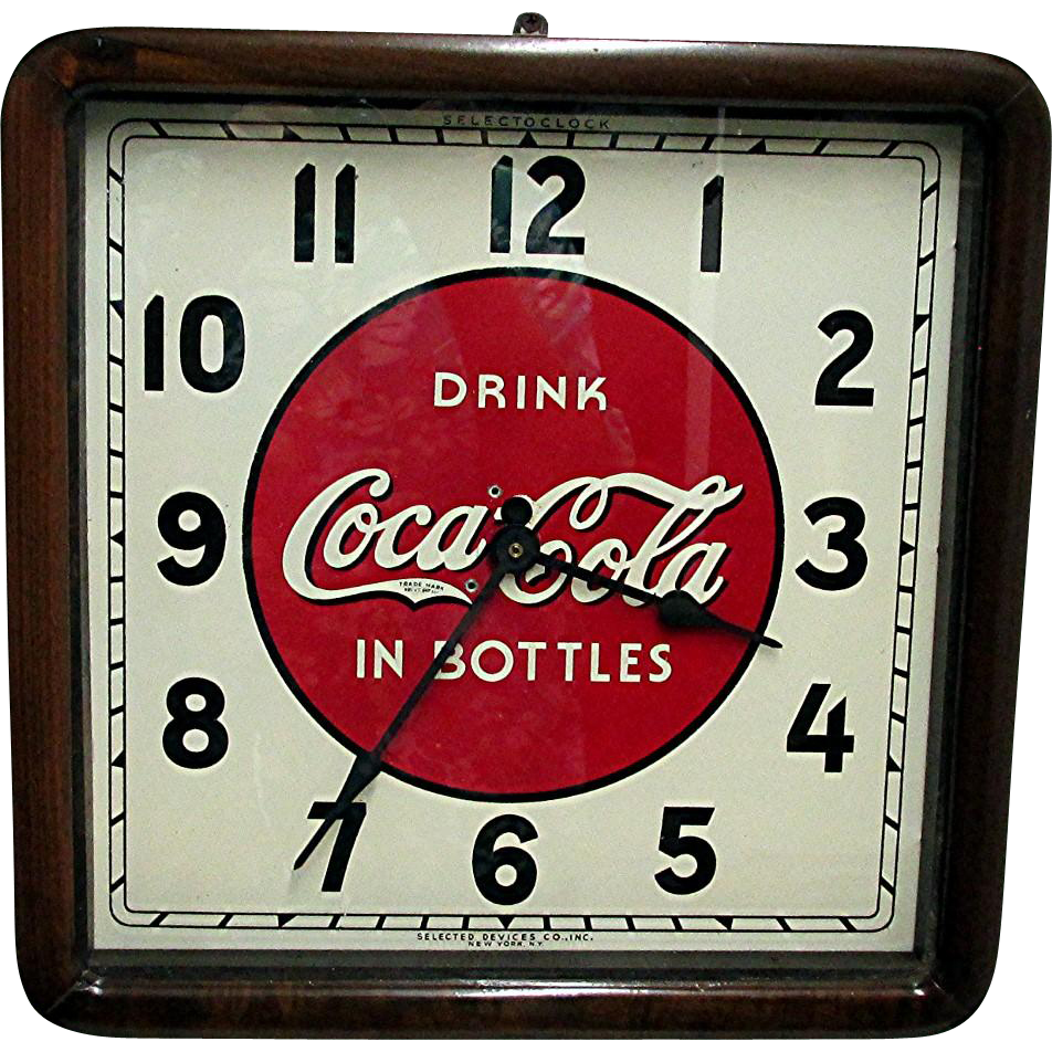 Wood Case Original Coca Cola Clock