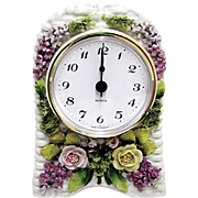 French Porcelain Clock Basket Weave Pattern