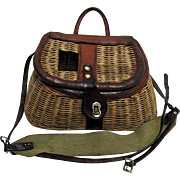 Fishing Creel or Basket Leather Bound