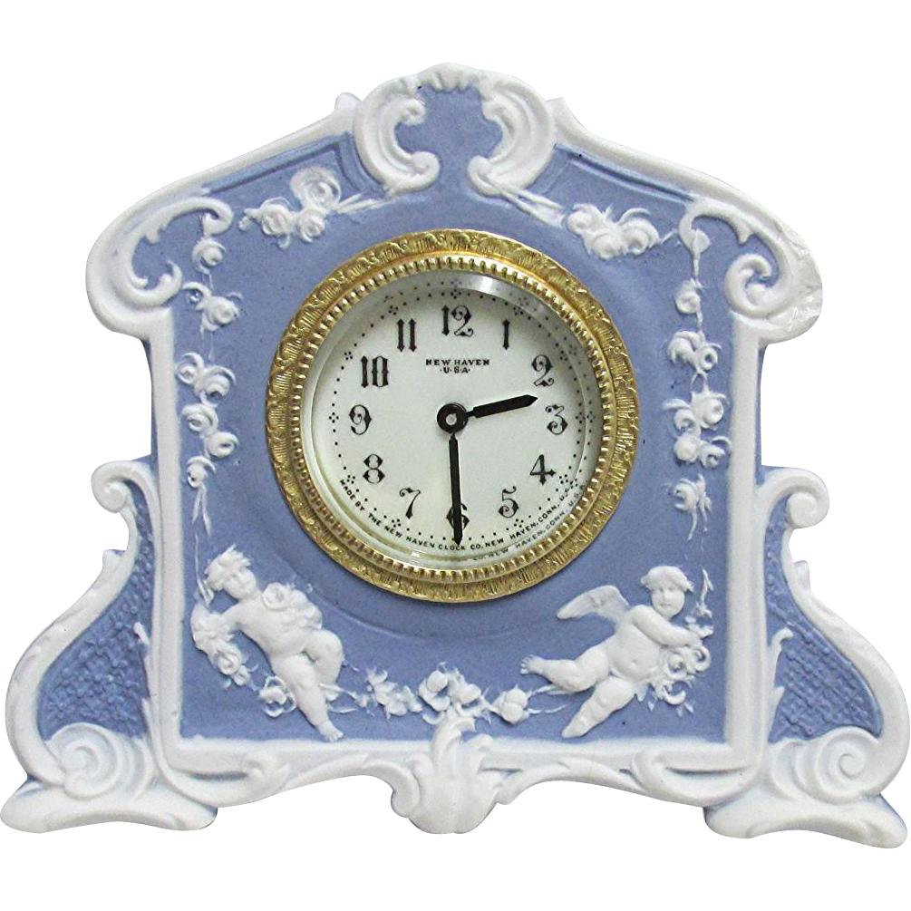SOLD    Antique Wedgwood Clock Blue Jasper