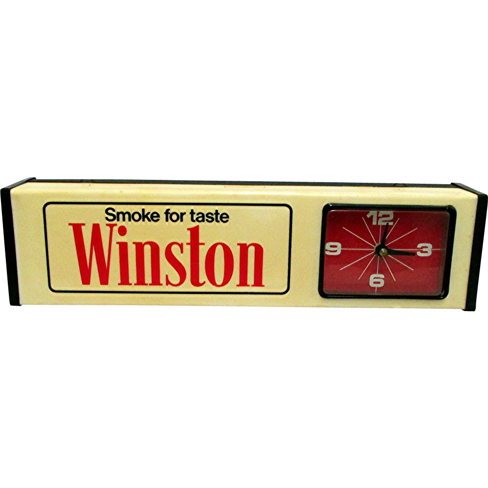 Advertising Clock  for Winston Salem Cigarettes Keeps Time with Backlight