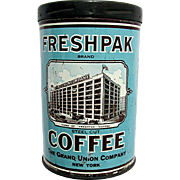 SOLD    See Other Coffee Tins for SALE   Fresh Pack Coffee Advertising Tin - Red Tag Sale Item