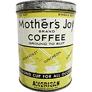 Advertising Coffee Tin in Yellow Mothers Joy