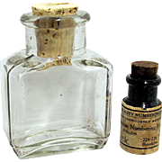 Two Early Glass Bottles  Ink and Vermont Druggist