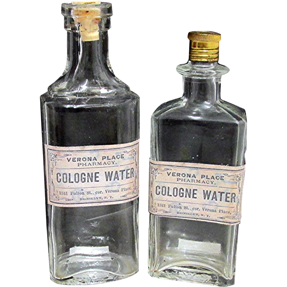 SOLD   See other bottles for SALE   Cologne Water Two Pharmacy Bottles