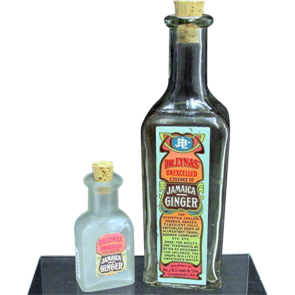 SOLD   Pharmacy Bottles two Jamaican Ginger Scent