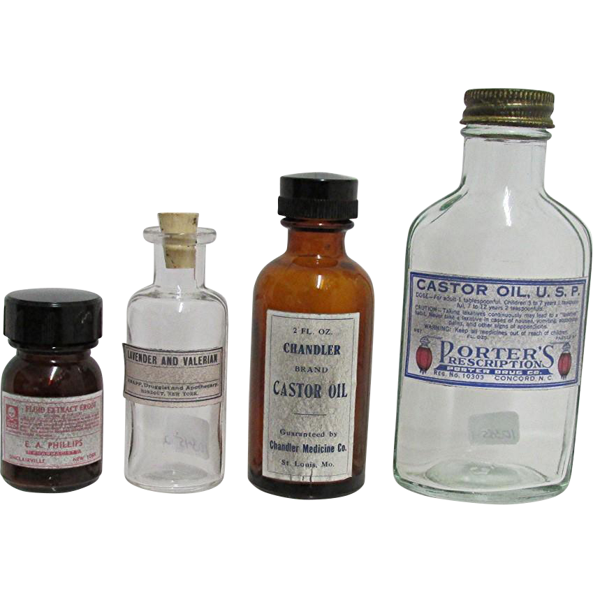 Four Drugstore or Pharmacy Advertising Bottles for Oils and Extracts
