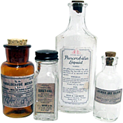 Pharmacy or Druggist Bottles  Two Samples and Two Shelf Bottles