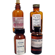 Amber Apothecary Bottles Four Different