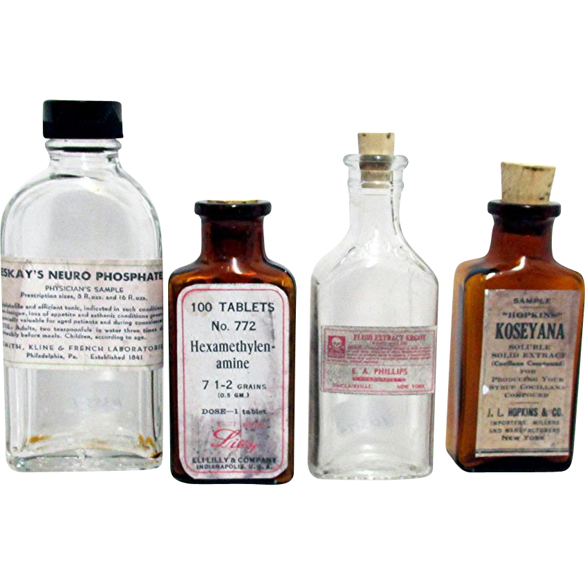Four Drugstore or Pharmacy Bottles 2 Amber 2 Clear Glass